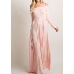 PinkBlush off the shoulder maxi maternity NWT